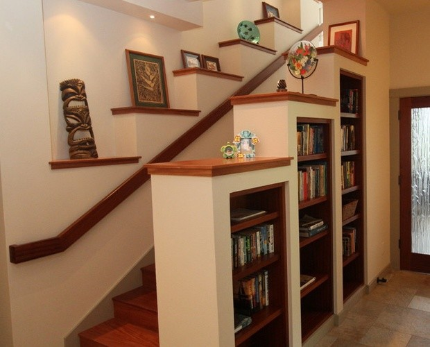 Amazing How To Use Unused Areas In Your Home For Storage With Stair Shelves.