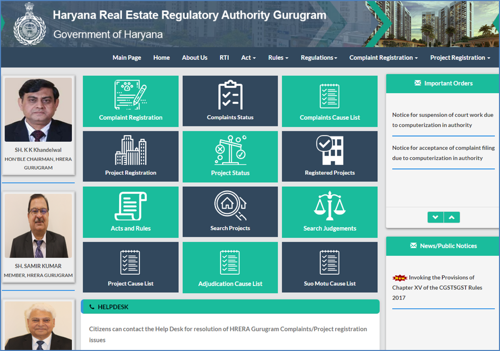How to track projects, builders on Gurgaon, Haryana Portal