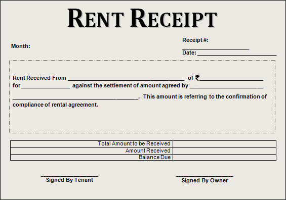 Rent Receipt Format Uses Mandatory Revenue Stamp Clause
